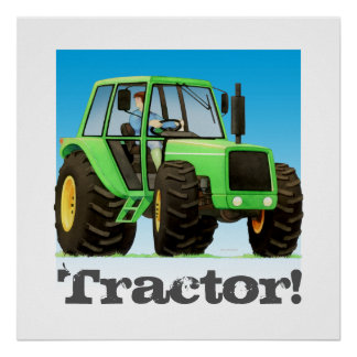 Tractor verde de los niños grandes póster