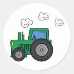 Tractor verde etiqueta redonda