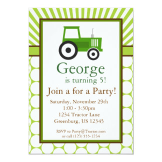 """Tractor verde - la fiesta de cumpleaños de la invitación 5"""" x 7"""""""