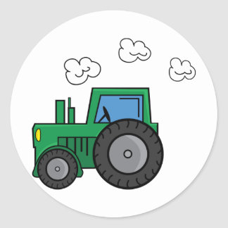 Tractor verde pegatina redonda