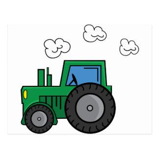 Tractor verde tarjeta postal