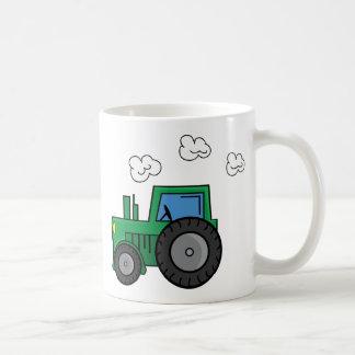Tractor verde taza básica blanca