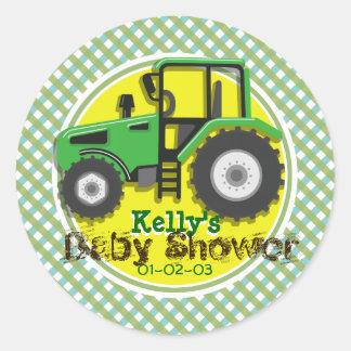 Tractor verde y amarillo lindo; Fiesta de Pegatina Redonda