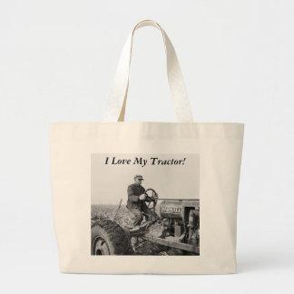 Tractor viejo de confianza, los años 30 bolsa tela grande
