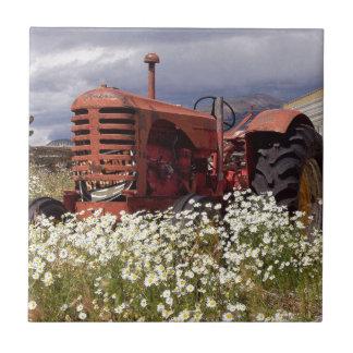 Tractor VIEJO oxidado del vintage Azulejo Cuadrado Pequeño