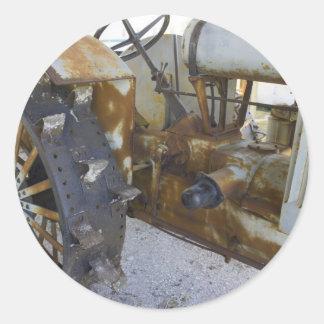Tractor viejo etiquetas redondas