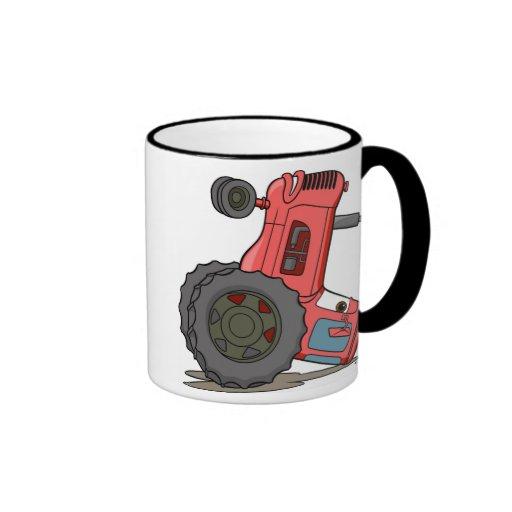 Tractor volcado tazas de café