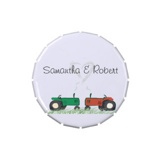 Tractor Wedding Mint Tin for Guests Candy Tin