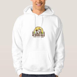 Tractor Wheat Organic Farming Crest Retro Hoodie
