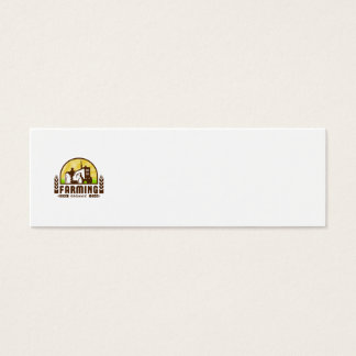 Tractor Wheat Organic Farming Crest Retro Mini Business Card