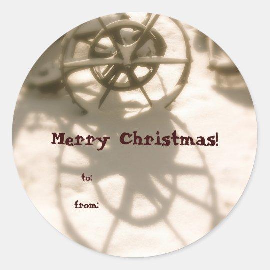 Tractor Wheel Christmas Gift Tag
