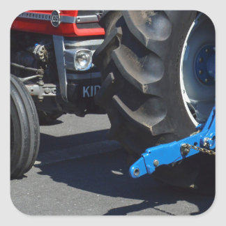 Tractor Wheels Square Sticker