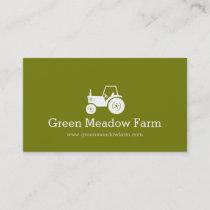 Tractor white green modern farm business card