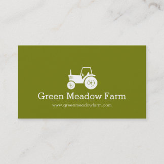 Tractor white green modern farm business card