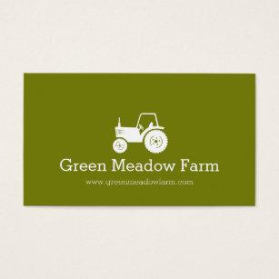 Green farm business cards templates zazzle tractor white green modern farm business card colourmoves