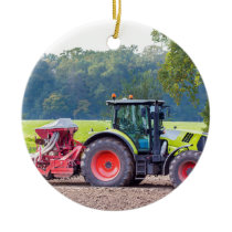 Tractor with agricultural machine on land.JPG Ceramic Ornament