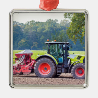 Tractor with agricultural machine on land.JPG Metal Ornament