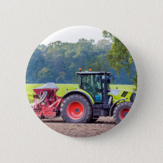 Tractor with agricultural machine on land.JPG Pinback Button
