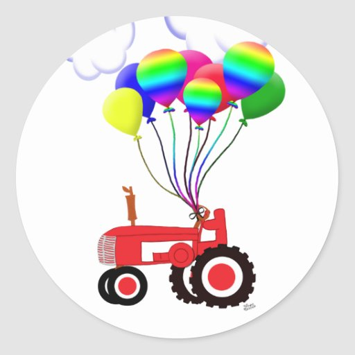 Tractor with Balloons Classic Round Sticker  Zazzle