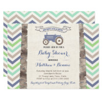 Tractor with Chevrons Baby Shower for Boy Invitation