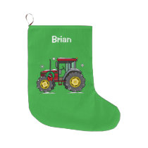 Tractor with Christmas Wreath Large Christmas Stocking