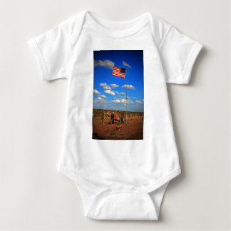 Tractor with Flag Baby Bodysuit