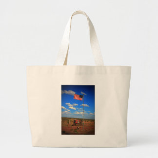 Tractor with Flag Large Tote Bag