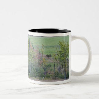 Tractor with hay bale in green field with Two-Tone coffee mug