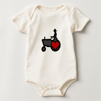 Tractor with Heart  Love the Country Baby Bodysuit
