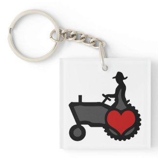 Tractor with Heart  Love the Country Keychain