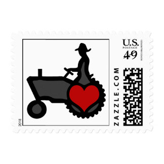 Tractor with Heart  Love the Country Postage