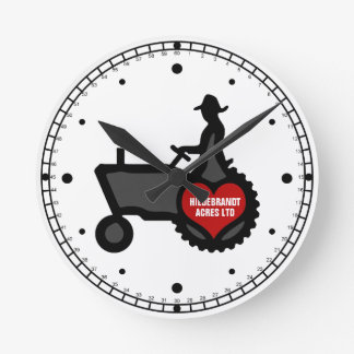 Tractor with Heart  Love the Country Round Clock