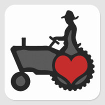 Tractor with Heart  Love the Country Square Sticker