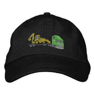 Tractor with lowboy embroidered baseball cap