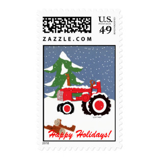 Tractor with Snow and Tree Postage