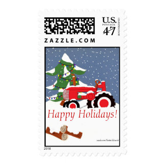 Tractor with Tree -Happy Holidays!... Postage