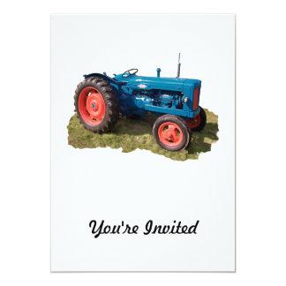 """Tractor y campo antiguos brillantemente coloreados invitación 5"""" x 7"""""""