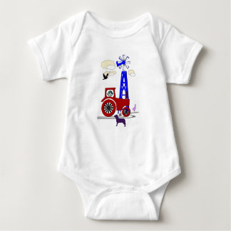 Tractore and dog baby bodysuit