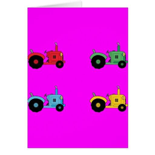 Tractores de granja tarjeta de felicitación