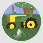Tractores y libélulas pegatina redonda
