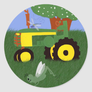 Tractors and Dragonflies Classic Round Sticker