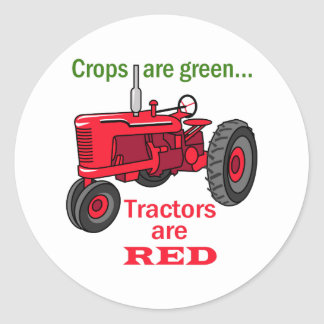Tractors Are Red Classic Round Sticker