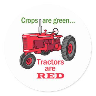 Tractors Are Red Classic Round Sticker