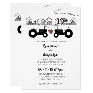 Tractors in LOVE and Farm Black and White Wedding Invitation