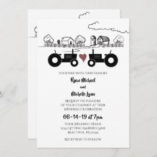 Tractors in LOVE and Farm Black and White Wedding Invitation