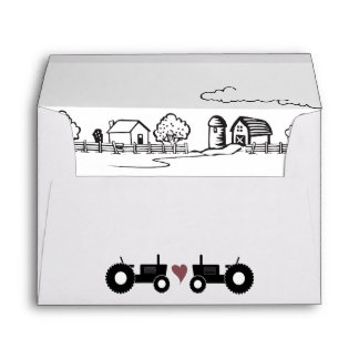 Tractors in LOVE Black and White Farm Wedding Envelope