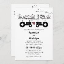 Tractors in LOVE Black and White Farm Wedding Invitation
