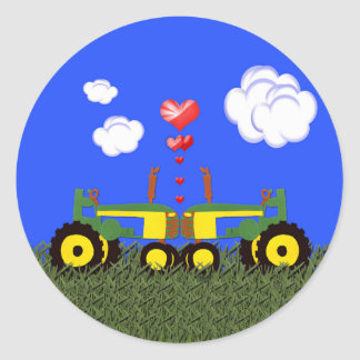Tractors Kissing Classic Round Sticker