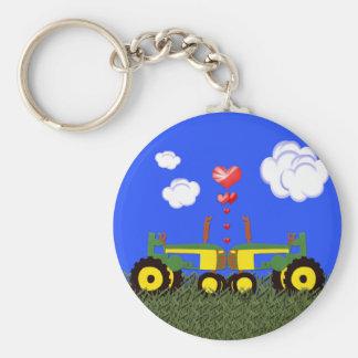 Tractors Kissing Keychain