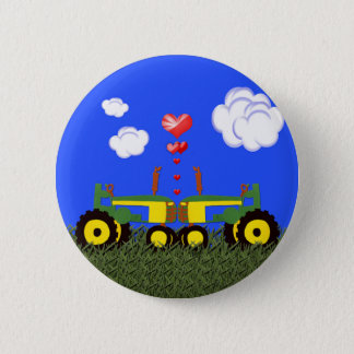 Tractors Kissing Pinback Button